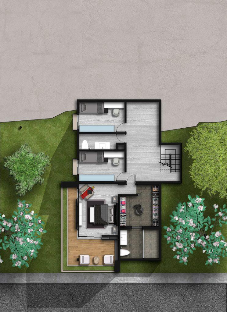 Nivel 2. Área Íntima, Habitaciones